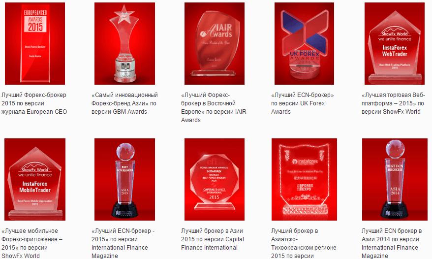 Последние награды InstaForex
