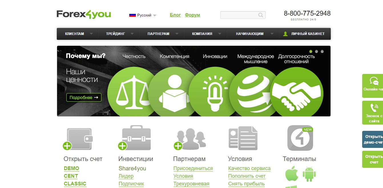 Официальный сайт Forex4you