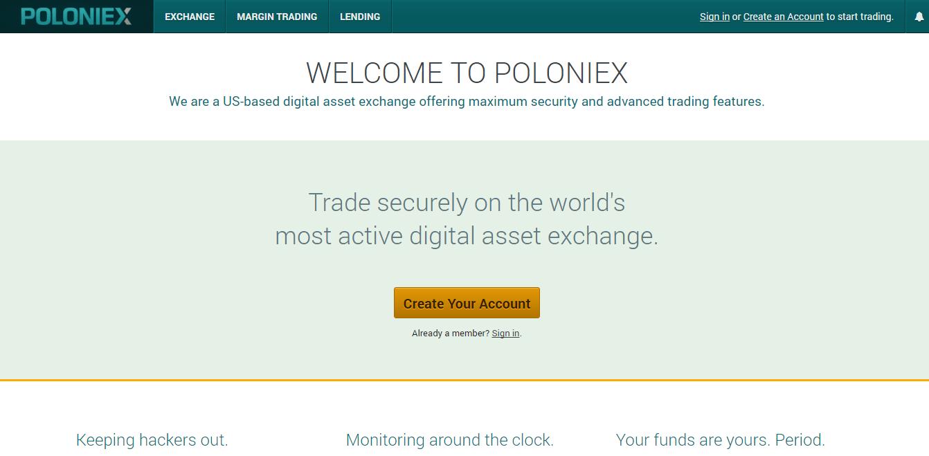 Poloniex - самая крупная биржа криптовалют в рейтинге