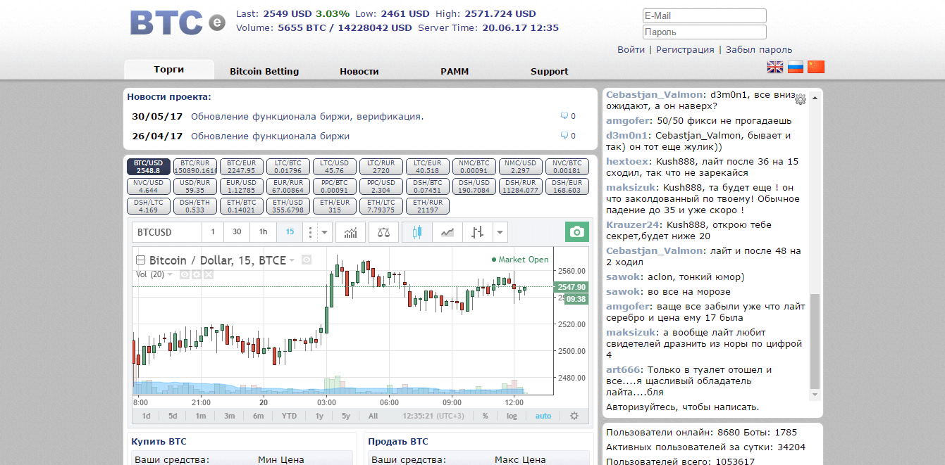 Официальный сайт BTC-e - биржи криптовалют