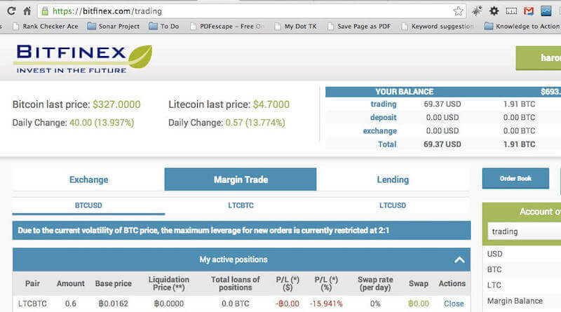 Аккаунт биржи Bitfinex