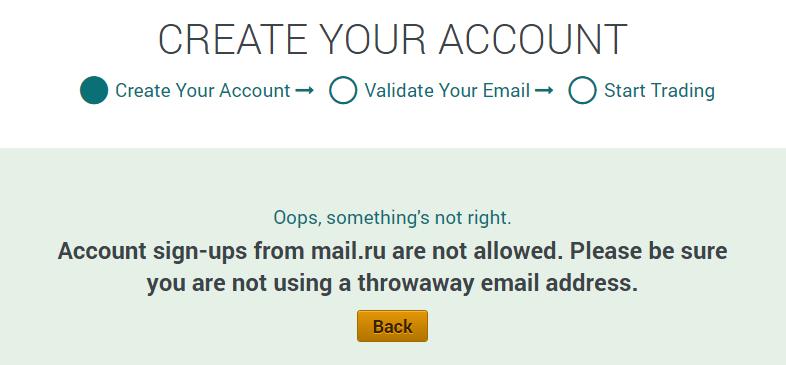С почтой mail.ru нельзя зарегистрировать аккаунт на бирже Poloniex
