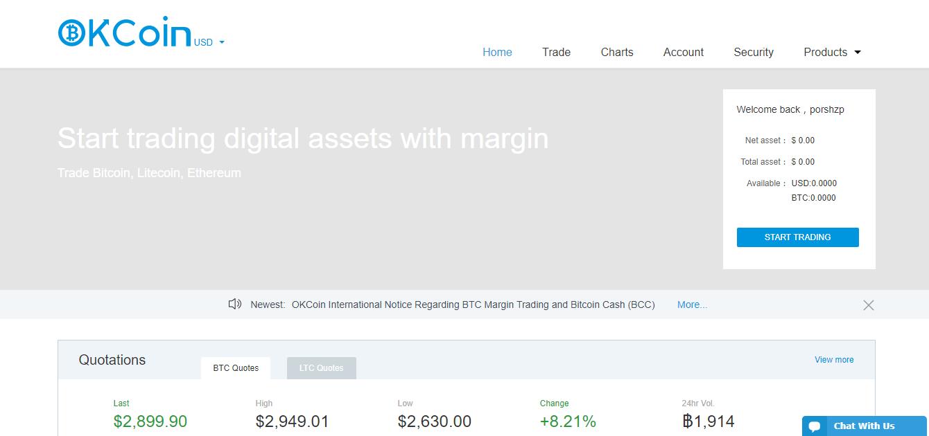 Официальный сайт биржи OKCoin
