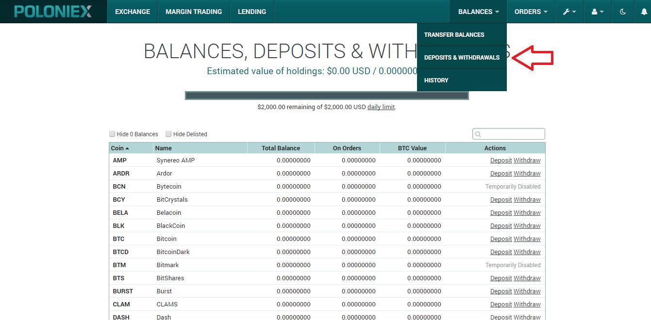 Как пополнить и снять деньги на бирже криптовалют Poloniex (Полоникс)