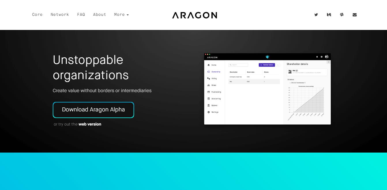 Официальный сайт компании Aragon, которая собрала во время ICO $25 миллионов за 15 минут