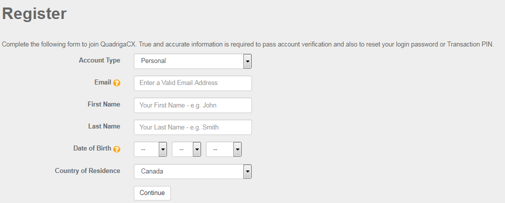 Окно регистрации QuadrigaCX