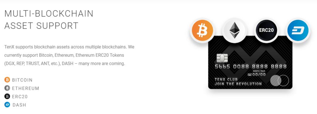 Поддерживаемые криптовалюты дебетовой картой TenX Pay