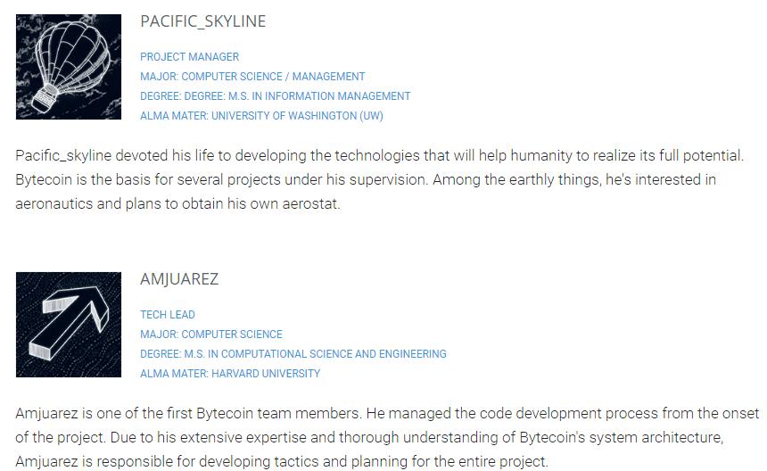 Страничка главных специалистов Bytecoin на официальном сайте