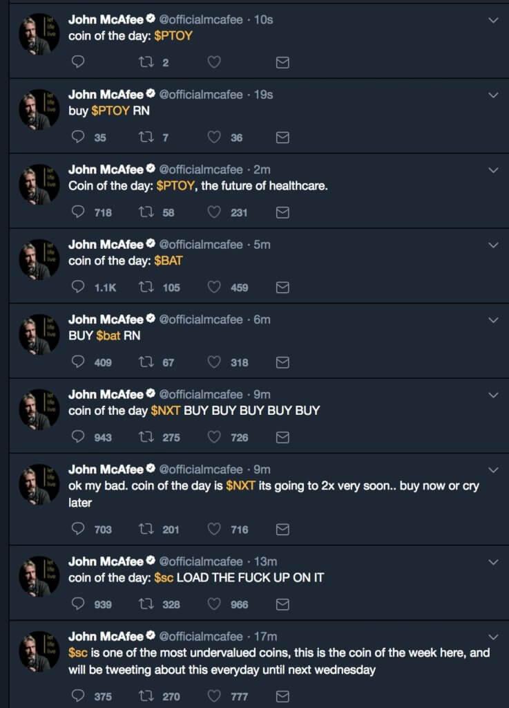 Серия твитов, продвигающих альткоины