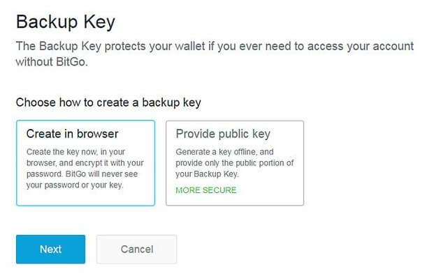 Создание backup ключа