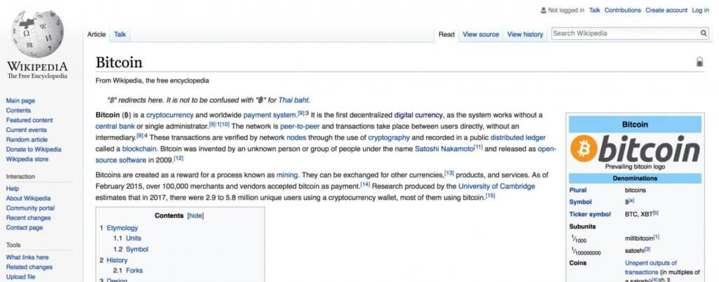 """Статья """"Биткоин"""" в Википедии"""