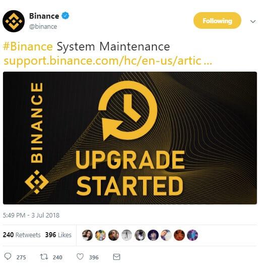 Сообщение Binance