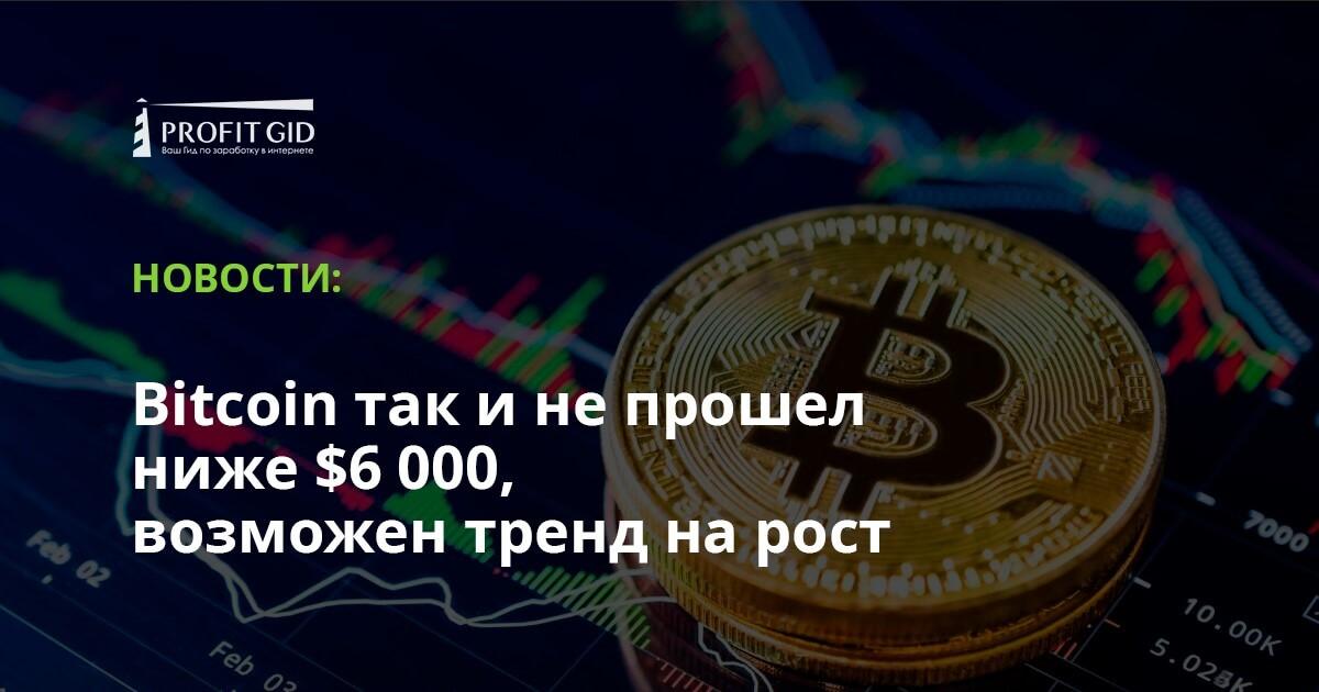 Bitcoin так и не прошел ниже  000, возможен тренд на рост