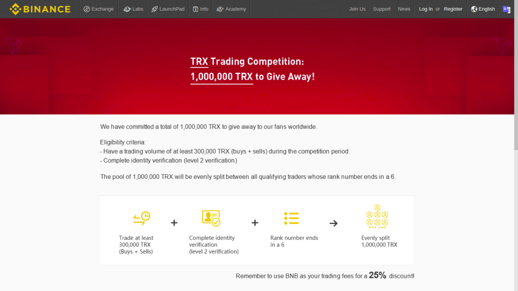 Binance и Tron запустили соревнование с призовым фондом в 1 млн TRX