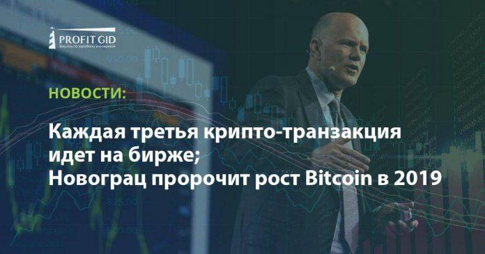 Каждая третья крипто-транзакция идет на бирже; Новограц пророчит рост Bitcoin в 2019