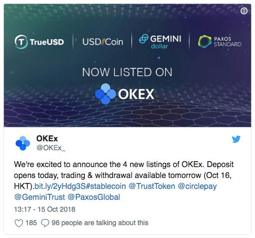 На бирже OKEx добавлено четыре новых stablecoin