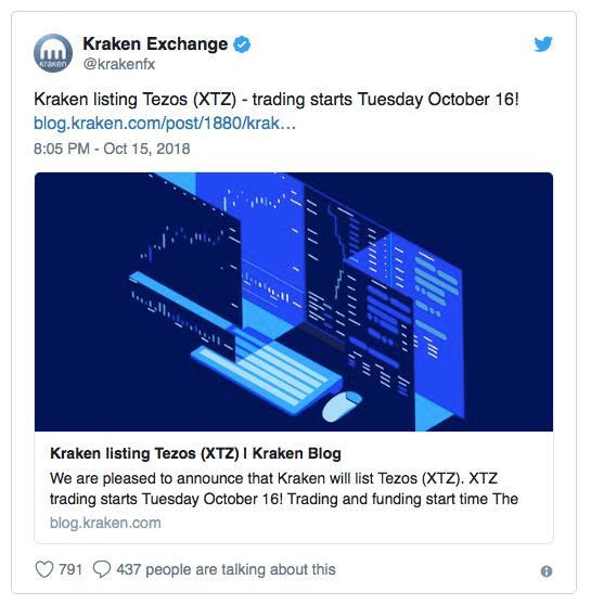 Kraken Exchange добавила поддержку Tezos (XTZ)