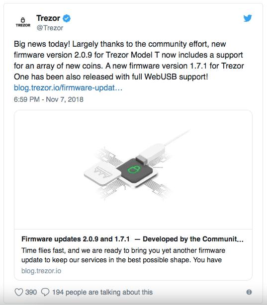 Trezor Model T добавил поддержку ADA, XMR, XLM, XRP и других altcoins