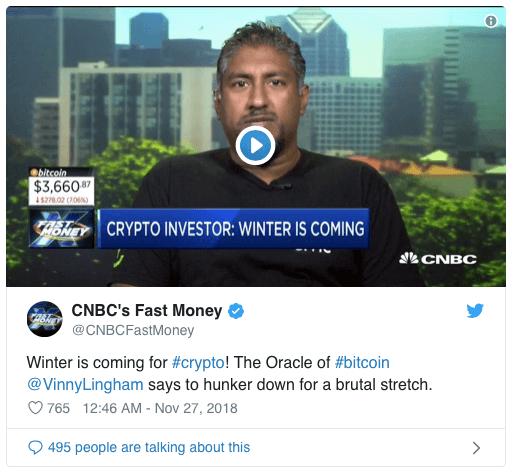 Винни Лингем: Bitcoin будет торговаться в районе 3 000 - 5 000 долларов США ещё минимум полгода