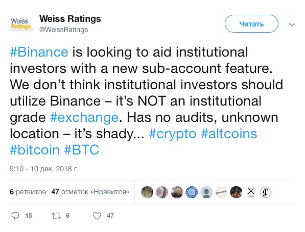 Weiss Ratings: биржа Binance не подходит для институциональных инвесторов