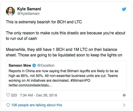 Проблемы Bitmain могут навредить ценам на Bitcoin Cash и Litecoin