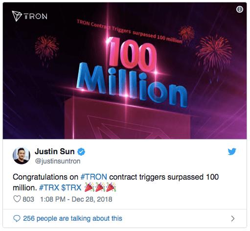 TRON снова выходит на новый уровень: 1 млн. аккаунтов и 100 млн. контрактов