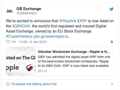 XRP добавлен на криптовалютную биржу «Gibraltar Blockchain Exchange»