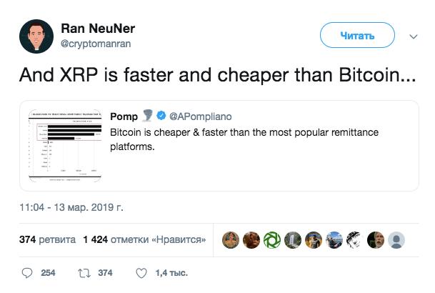 Ран Нойнер: XRP намного быстрее и дешевле, чем Bitcoin