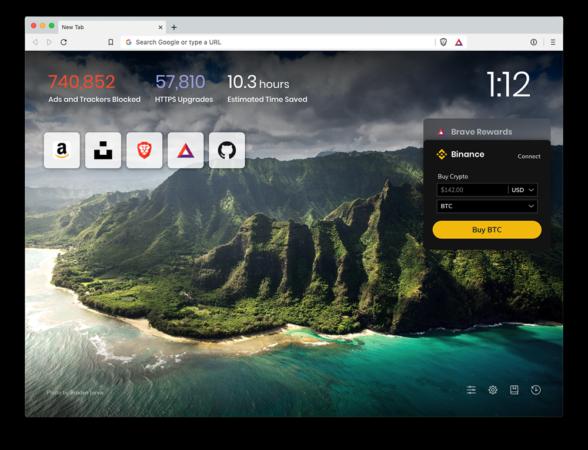 приобретение криптовалюты на Binance через браузер Brave
